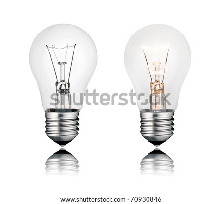 Perfect Two Lightbulbs On and Off with Reflection Isolated on White Background