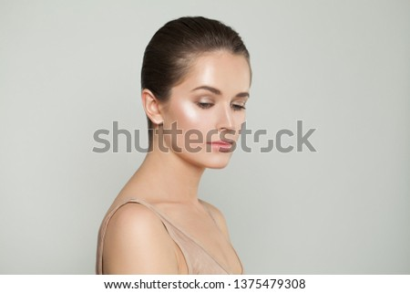 Perfect woman with perfect skin. Skincare and facial treatment concept
