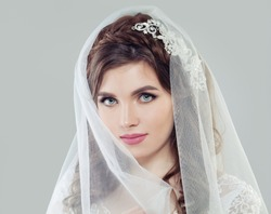 Perfect young bride woman with makeup and white veil, fashion beauty portrait