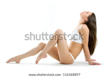 Perfection of women with clean fresh skin and with beautiful legs