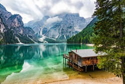 Perfectly located boathouse at Pragser Wildsee, South Tyrol, Italy