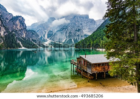 Perfectly located boathouse at Pragser Wildsee, South Tyrol, Italy #493685206