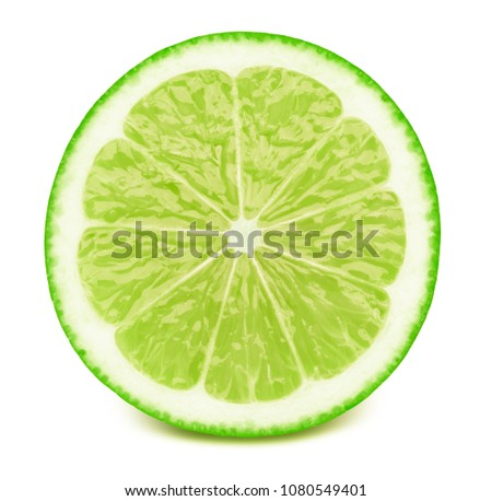 Perfectly retouched sliced half of lime fruit isolated on the white background with clipping path. One of the best isolated limes halves slices that you have seen.