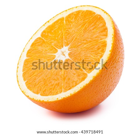 Perfectly retouched sliced orange isolated on the white background with clipping path.One of the best isolated oranges slices that you have ever seen.
