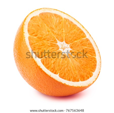 Perfectly retouched sliced orange isolated on the white background with clipping path. One of the best isolated orange slices that you have seen.  #767563648