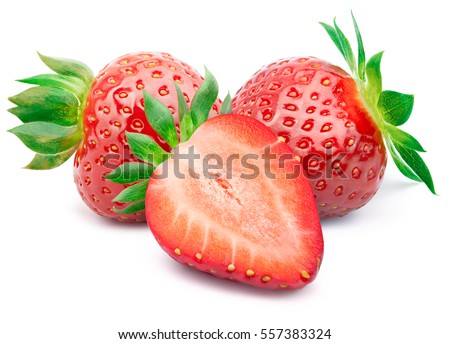 Perfectly retouched strawberry with sliced half and leaves isolated on white background with clipping path. One of the best isolated strawberries you have seen. Strawberry isolated, strawberries.