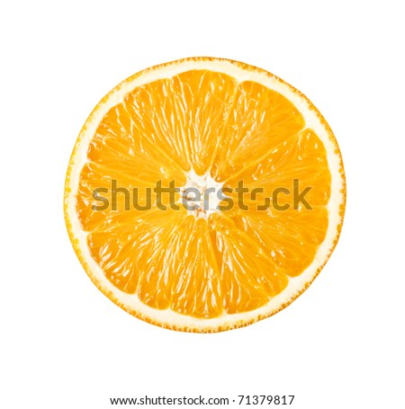 Perfectly round orange sliced in half isolated on white background