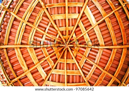 Perfectly symmetrical thatched roof in a hotel in Costa Rica