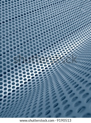 Perforated metallic grid, industrial background