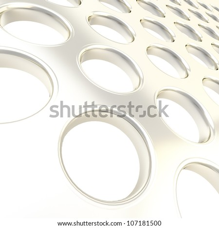 Perforated silver metal surface as abstract glossy background