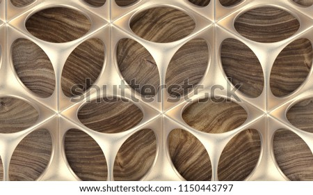 Perforated solid matt gold construction on wooden background. Metal grid. High quality seamless realistic texture.