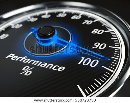 Performance level meter with arrow on 100%, 3d render