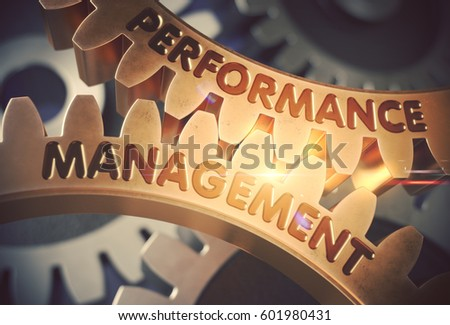 Performance Management on the Golden Gears. 3D Illustration.