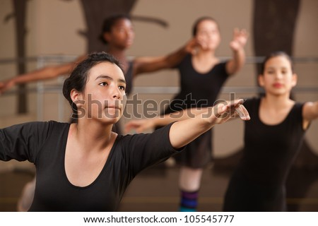 Performance rehearsal by young ballet students in class