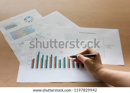 Performance reports are presented in graphs, such as bar graphs, pie graphs, line graphs, and pen reporting in hand. #1197829942