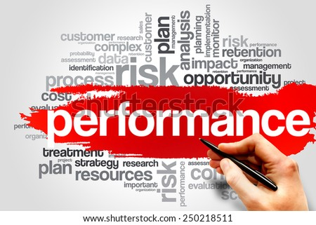 Performance word cloud, business concept