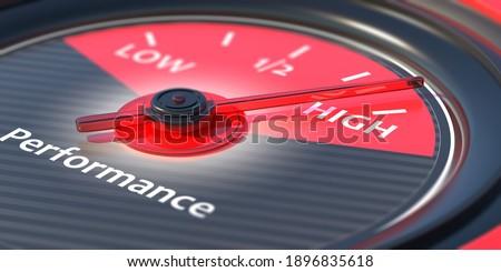 Performing high concept. Car gauge measure engine high performance close up. 3d illustration Foto stock ©