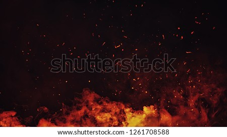 Perftect fire particles embers on background . Smoke fog misty texture overlays