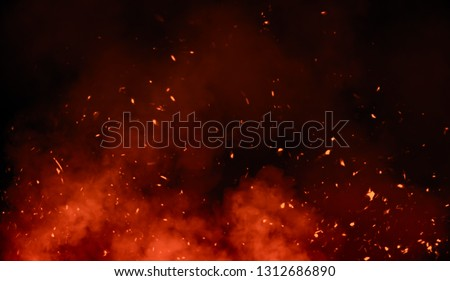 Perftect fire particles embers on background . Smoke fog misty texture overlays stock photo