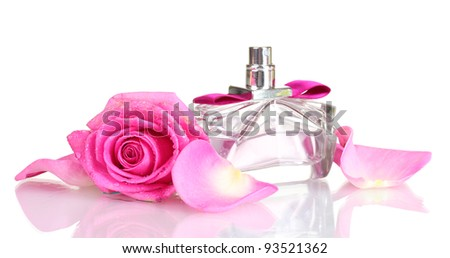 Perfume and pink roses on white background