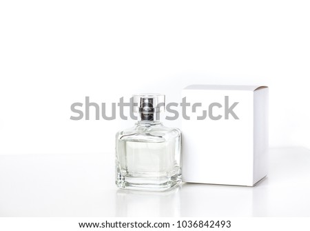 Perfume bottle  and  white packaging box mockup