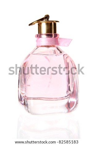 Perfume bottle on the white background - stock photo
