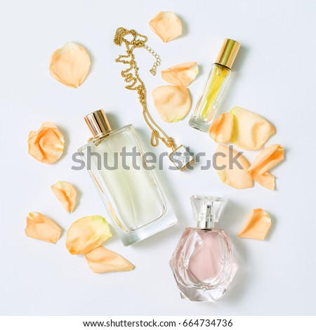 perfume bottles with flowers...