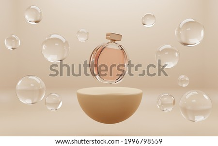 Perfume glass bottle on golden podium with soap water bubbles mock up banner, beauty skin care cosmetics tube on abstract geometric stage, product ad on showroom platform. Realistic 3d illustration
