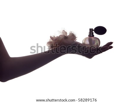 Perfume;hand of a woman holding a bottle of perfume