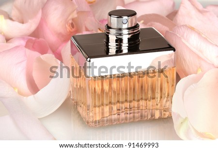 perfume in a beautiful bottle and petals  closeup
