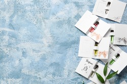 Perfume samples on color background