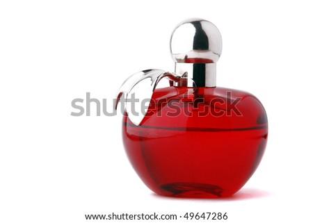 Perfumery. Perfume bottle closeup on a white background. - stock photo