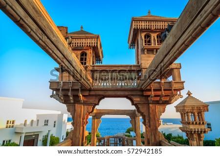 Pergola in Red Sea coastline in Sharm El Sheikh, Sinai, Egypt #572942185