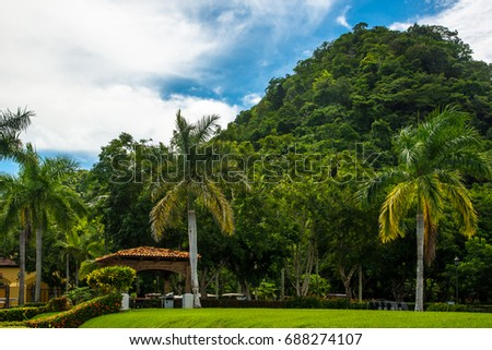 Stock Photo Pergola in the middle of the vegetation and the natural. Costa Rica, tourist paradise