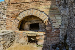 Perhaps the oldest pizza oven is here in the ancient city of Pompeii which is an ancient Roman city near Naples Italy that was  destroyed by  the eruption of Mount Vesuvius