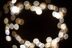 Perimeter bokeh for text or other creative ideas. Abstract bokeh bright white color, blurred background.