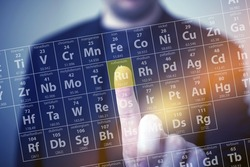 Periodic Table Elements Touch. Periodic Table Chemical Concept with Men Touching Some Element by His Finger. Chemistry Touch Screen