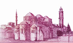Peristerona church and a Turkish mosque in the background. Portrait from Cyprus 5 Pounds 2003  Banknotes.