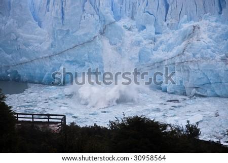 Perito Moreno glacier calving from over 100 foot face 2