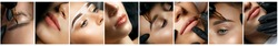 Permanent makeup collage: closeup photos of eyes and eyebrows. Specialist applying permanent pigment