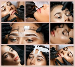Permanent makeup collage: closeup photos of permanent pigment applying in woman's face
