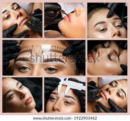 Permanent makeup collage: closeup photos of permanent pigment applying in woman's face Stock fotó ©