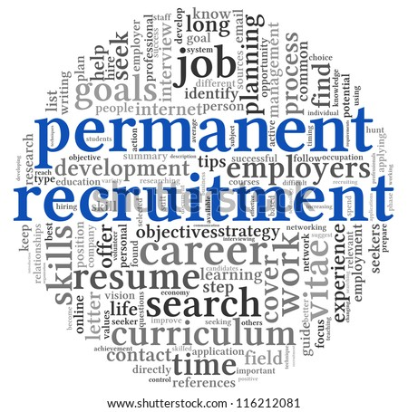 Permanent recruitment concept in word tag cloud on white background