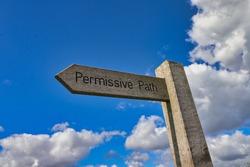 Permissive path wooden signpost in Devon