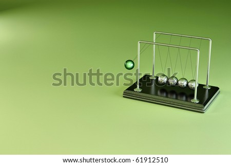 Perpetual motion. Pendulum on green background. 3d