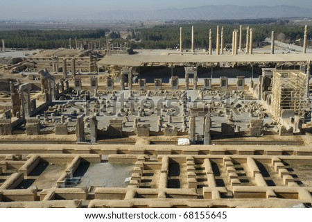 Persepolis, ceremonial capital of the Achaemenid Empire. Established probably by Cyrus the Great. View on palace of 100 columns, Apadana Palace, Palace of Xerxes and Palace of Darius on left