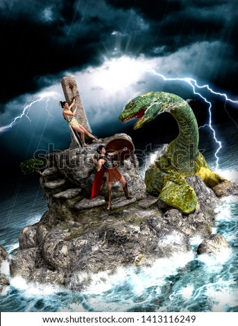 Perseus saving Andromeda, who was offered as a sacrifice to appease the gods, from a sea monster, Greek mythology tale, 3d render illustration