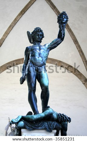 Perseus statue in Florence - stock photo
