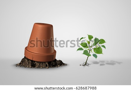 Persevere and powerful and power concept as an upside down flower pot with a sapling plant breaking through as an endurance and tenacity to persist and survive idea with 3D illustration elements. Сток-фото ©