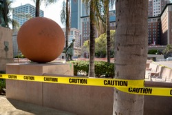Pershing Square in Downtown Los Angeles closed to the public cause the coronavirus pandemic emergency ordinance